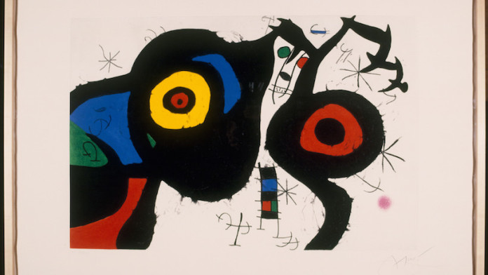 Joan Mirò, I due amici, 1969, Acquaforte, acquatinta e carburo di silicio, cm 71,5 x 106,5 - Barcellona, Fundaciò Joan Mirò © Successiò Mirò by SIAE 2016
